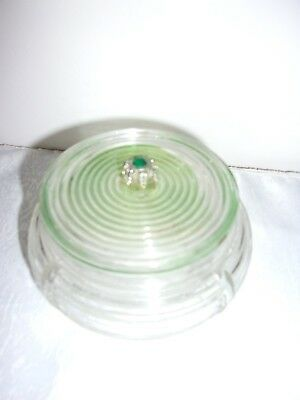 VTG Ribbed Manhattan Art Deco Depression Glass Powder Jar w/Lid Green Stone