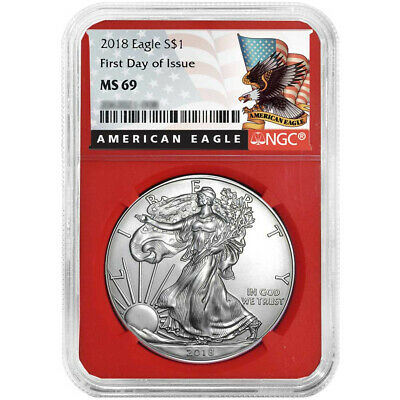 2018 $1 American Silver Eagle NGC MS69 FDI Black Label Red Core
