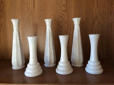 "Vintage Lot of SIX (6) White Milk Glass Bud Vases   6"" &  9""  TWO  STYLES"