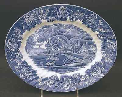 "Wood & Sons ENGLISH SCENERY BLUE 11 3/4"" Oval Serving Platter 773711"