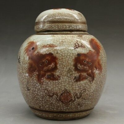 Chinese old famille rose porcelain Hand painted lion pattern tea caddy