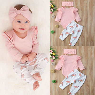 Newborn Baby Girl Clothes Romper T-shirt Top+Pants Leggings Flamingo Outfits Set