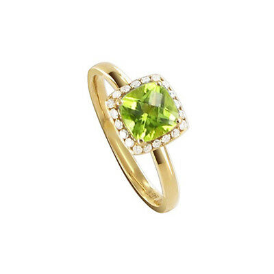 14k Yellow Gold 8mm Square Peridot Gemstone with Diamond accents Ring Size 6