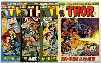 Thor #202,204,205,206 Avg Fine- Marvel Comics