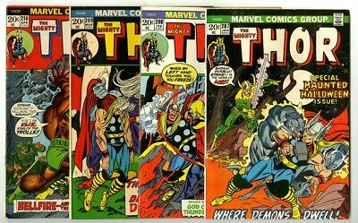 Thor #207,208,209,210 Avg Fine- Marvel Comics