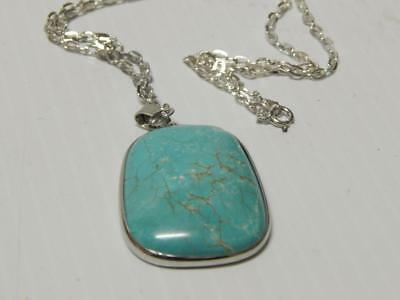 ❤️nice Navajo Indian Sterling Silver + Large Turquoise Stone Pendant Free Chain