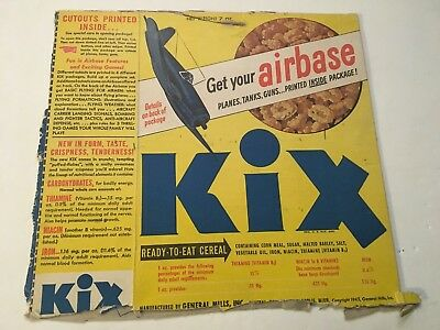 1945 Kix Cereal Airbox With Planes, Tanks, Etc