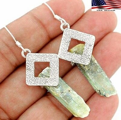 9g Natural Rough Aquamarine 925 Solid Sterling Silver Earrings Jewelry A9-1