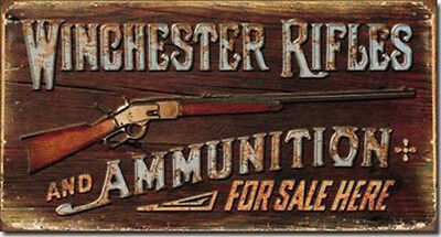 Winchester Sign Rifles Ammunition Rustic Vintage Metal Advertising Tin New USA