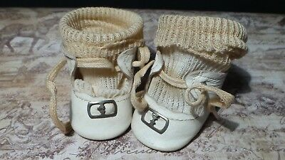 Antique VINTAGE White LEATHER Doll SHOES with SILVER BUCKLES and DOLL Pair SOCKS