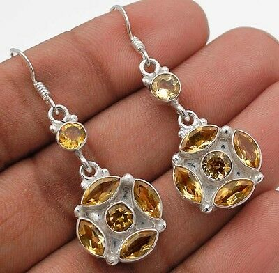 "5CT Citrine 925 Solid Sterling Silver Earrings Jewelry 1 3/4"" Long"