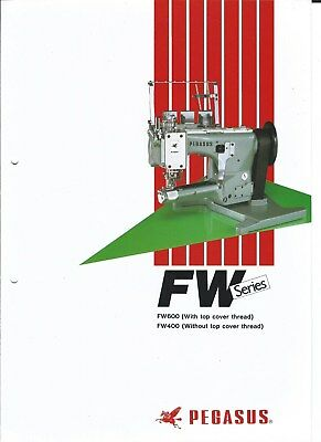 Sewing Machine Brochure - Pegasus - FW600 FW400 - FW series - 1988 (E3931)