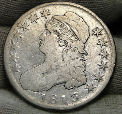 1813 Capped Bust Half Dollar 50 Cents - Nice Coin, Free Shipping (6534)