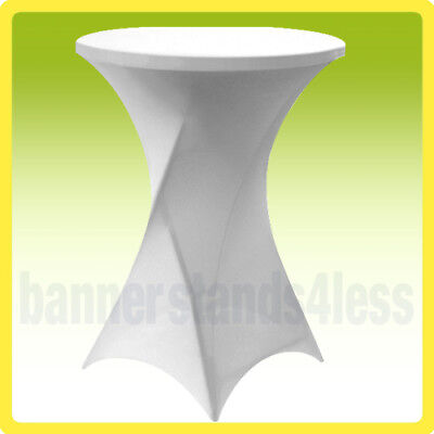 "30"" SPANDEX Cocktail Bar Table Cover Round Tablecloth Stretch Lycra - White"