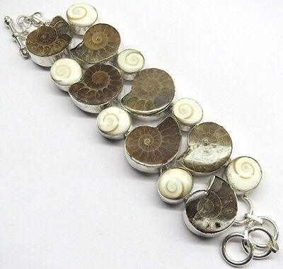 80 Gm Natural Ammonite Fossil,Shiva Eye Lovely Silver Bracelet Pb-2337