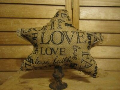 Primitive star make do - printed burlap - Love, faith, hope - 13