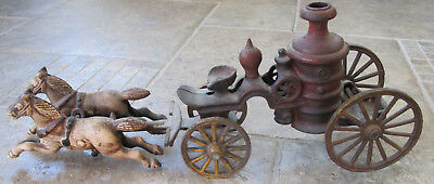 Antique vintage cast iron large 2 horse drawn fire truck engine pumper toy