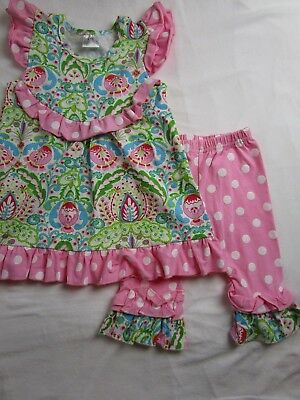 Toddler Girl XXS 2 3 Pink Green Blue paisley polka dot outfit BOUTIQUE Spring
