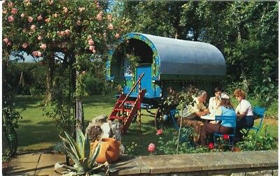 Blue bow top Gypsy Romany Traveller caravan on Isle of Wight about 1970.