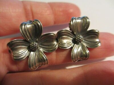 Gorgeous Huge Retired James Avery Sterling Dogwood Pierced Earrings-No Res!