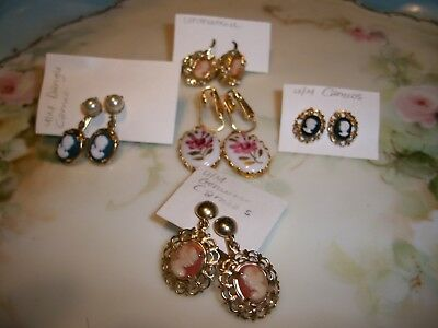 Vintage Lot of Cameo Mixed Lot [5] Earrings; Carved Shell - Porcelain  Molded