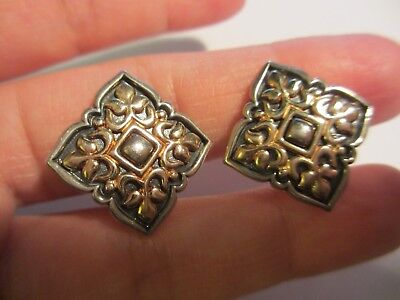 Exquisite Retired James Avery Sterling&14K Yg Laced French Clip Earrings-No Res