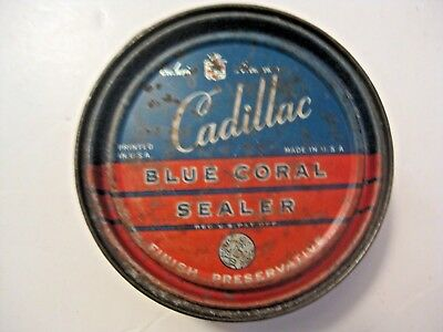 Rare Vintage Cadillac Motor Car Division Blue Coral Sealer Advertising Oil Can