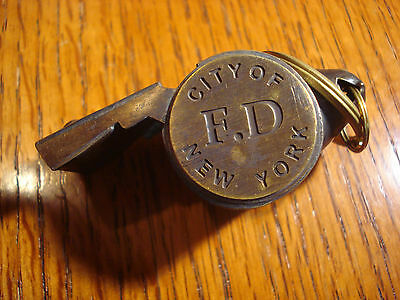City of New York FD Solid Brass Working WHISTLE Beach Help Police Fire