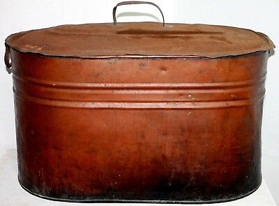 Large Antique Primitive Copper Boiler Pot / Tub With Lid. Nice Shape, Well Used