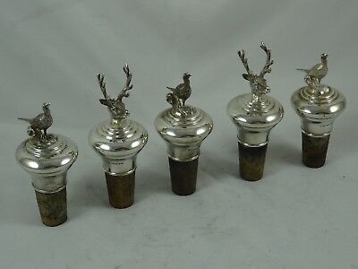 RARE set x 6 PHEASANT & DEER solid silver BOTTLE STOPPERS, 2000