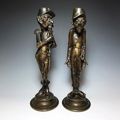 PAIR 19c BRONZE MILITARY FIGURAL COMIC CHARACTER CANDLESTICKS