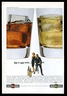 1962 Martini & Rossi vermouth sweet & dry rocks glass photo vintage print ad