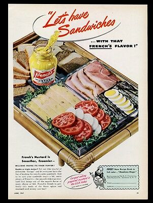 1947 French's Mustard sandwich components photo vintage print ad