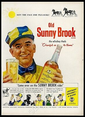 1949 Old Sunny Brook Whiskey harness racing horse driver art vintage print ad