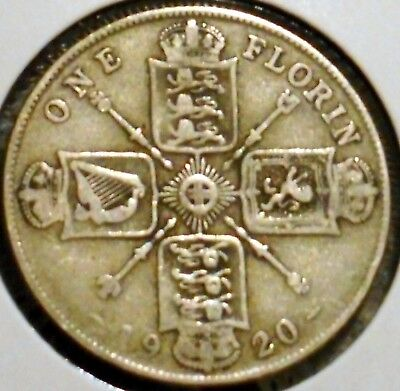 British Florin - 1920 - King George V - $1 Unlimited Shipping