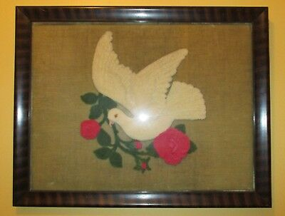 "Antique Plushwork Bird White Dove Peace Roses on Velvet Vtg Textile Art 22"" x 16"