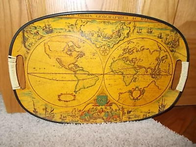 COOL! Vintage Pressed Wood Composite Serving Tray Cartography Old World Map
