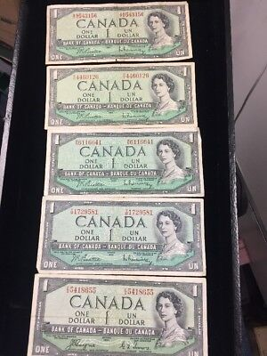 Canada 1954 $1 Notes Average Circulated Lot Of 5