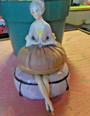 Vintage Porcelain Half Doll Victorian Lady Sewing Pin Cushion~Sexy Legs~Germany