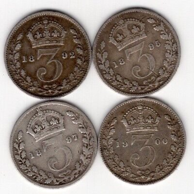 Lot Of 4 Great Britain Three 3 Pence Victoria Sterling Silver World Coins