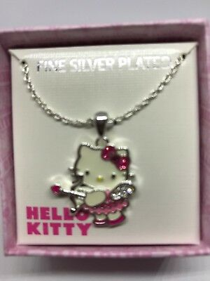 "Hello Kitty Necklace  Fine Silver Plated Crystal Cupid  Pendant  18"" Gift Boxed"