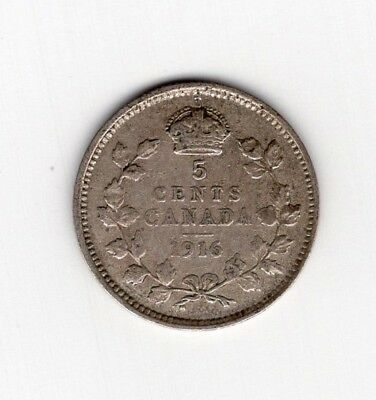 1916 Canada Five 5 Cent George V Fishscale Sterling Silver Nickel Coin