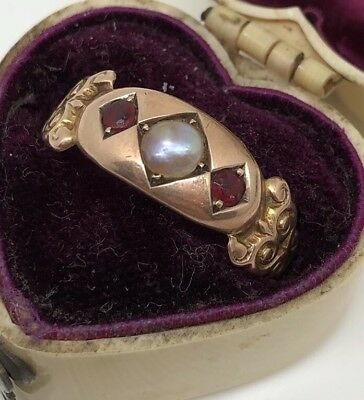 Antique Victorian Yellow Gold Pearl And Ruby Ornate 3 Stone Ring Pretty Band