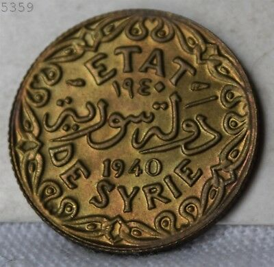 """1940 Syria 5 Piastres """"Choice BU"""" *Free S/H After 1st Item*"""