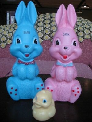 Vintage Bunny Banks Set 2 Pink Blue plus Ducky Toy Plastic Collectible