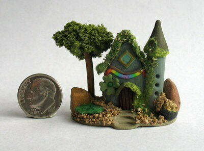 Handmade Miniature  ST. PATRICK'S DAY FAIRY COTTAGE HOUSE -  OOAK C. Rohal