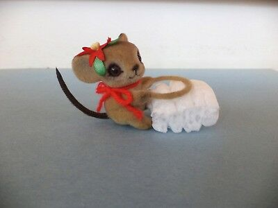 Vintage Josef Originals Flocked Mouse Poinsettia Christmas Candle Ring Climber