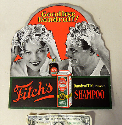 Antique vtg c1920s-30s FITCH Shampoo Cardboard SIGN Art Deco Store Display