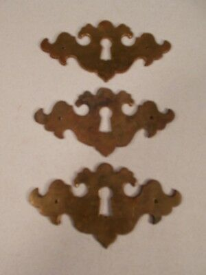 3 Victorian Early American Cast Brass Key Hole Covers Escutcheons c1880-1900s+