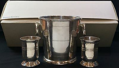 Vintage Banana Republic Silver Toned Wine/Champagne Ice Bucket & Cup Set - READ